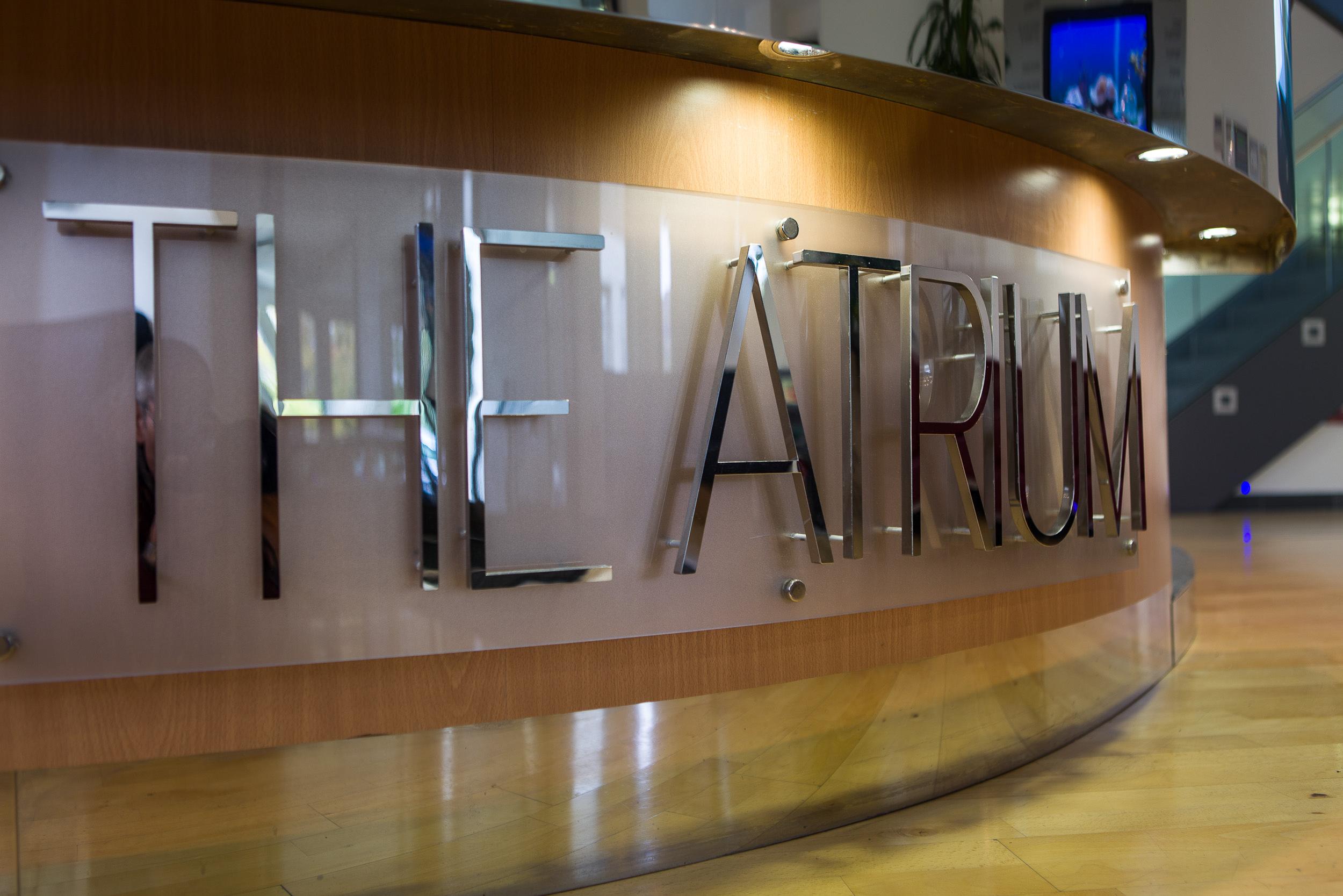 The Atrium entrance, Dorking, Surrey, True Holdings Ltd