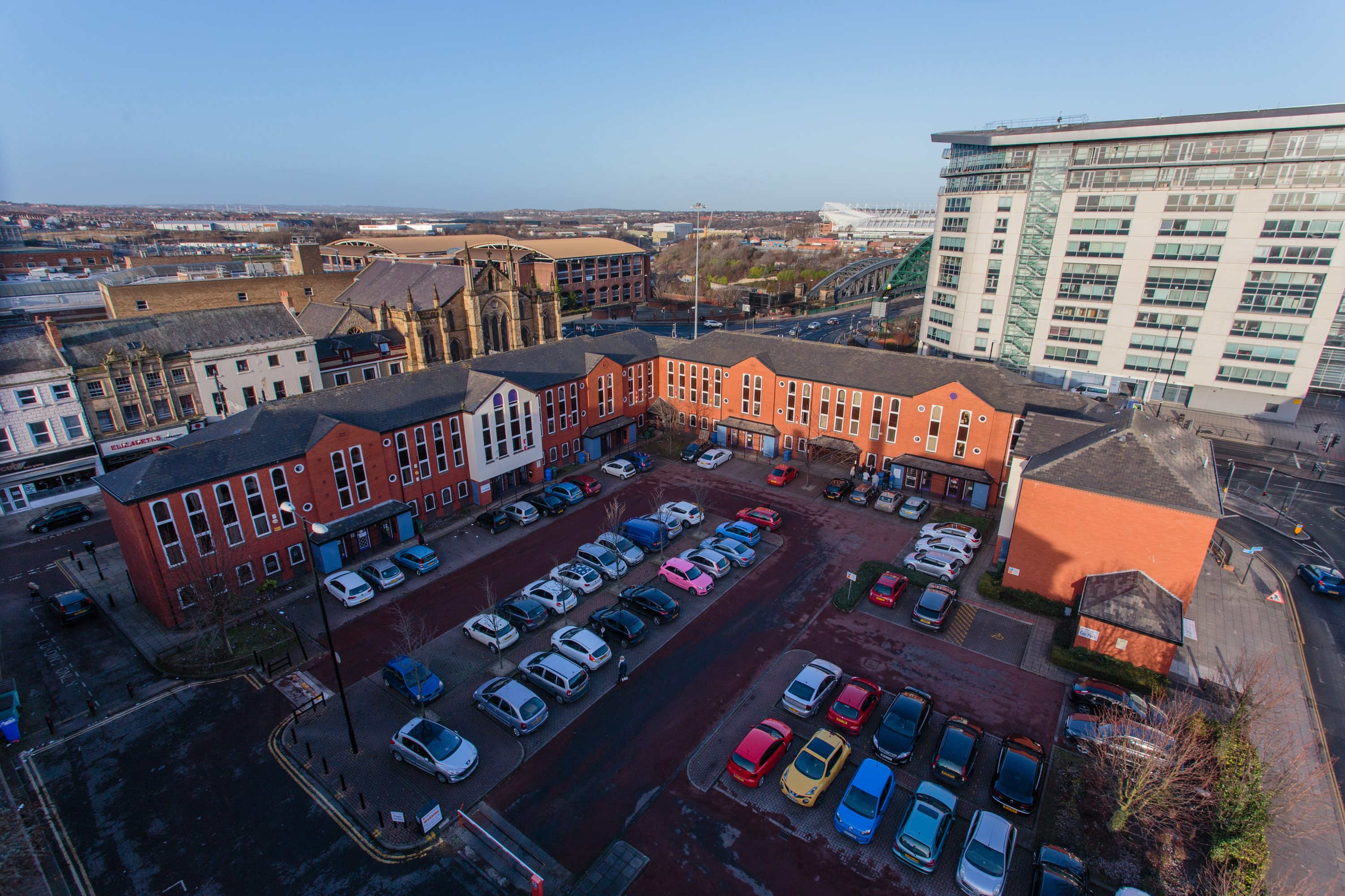 Aerial View at Bizspace, Bridge House, Sunderland, Northumberland, SR1