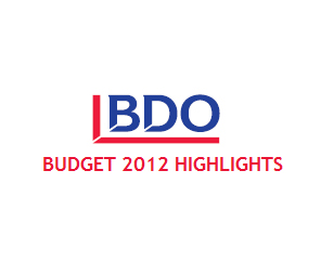 Budget 2012 Highlights from the BDO